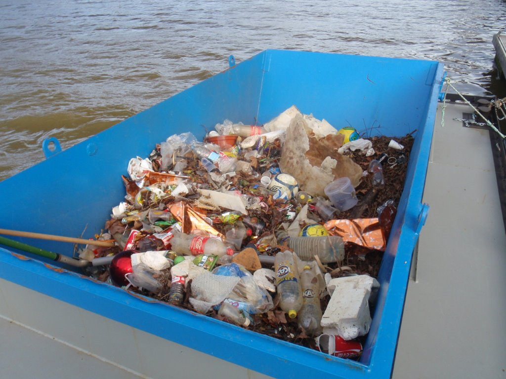 Skip barge for waterway cleanup or river cleanup